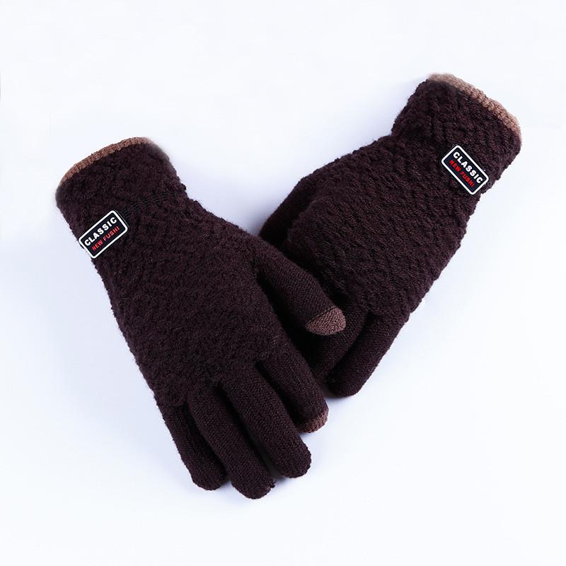 Зимние теплые мужские перчатки Classic коричневые опт
