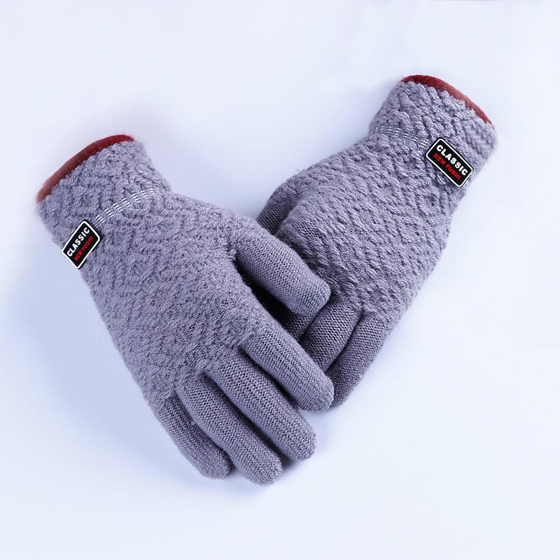Зимние мужские перчатки Classic светло-серые опт