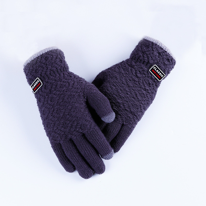 Зимние темно-серые мужские перчатки Classic опт