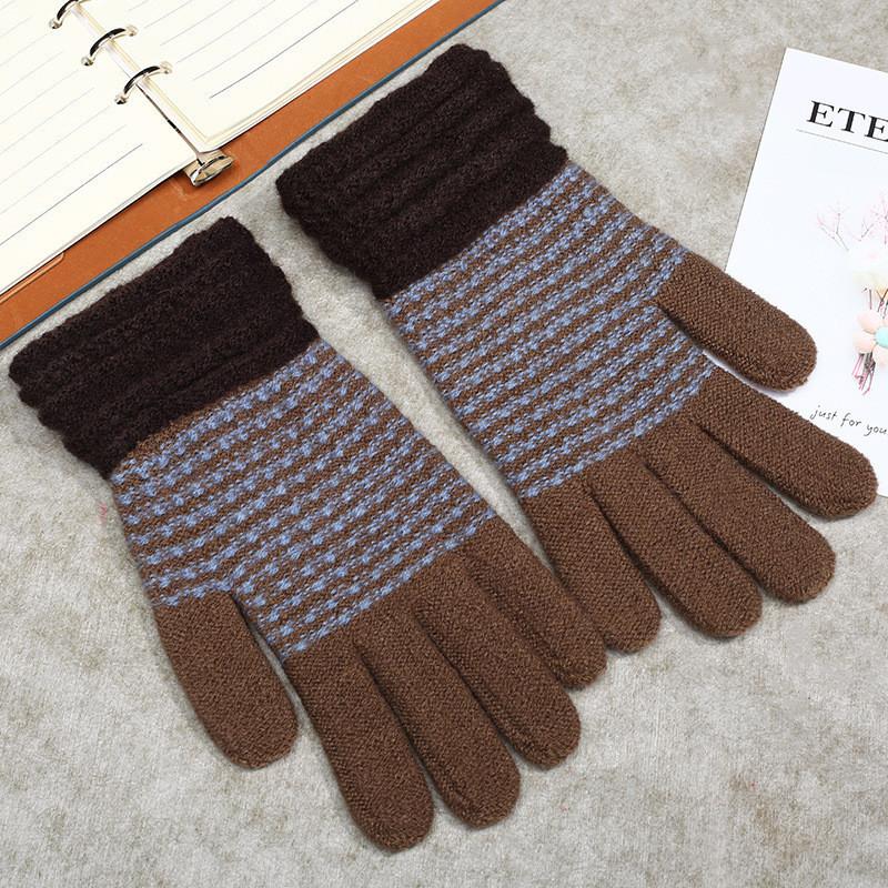 Теплые шерстяные женские перчатки в полоску коричневые опт