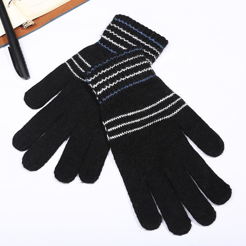 Перчатки унисекс черные в полоску весна/осень опт