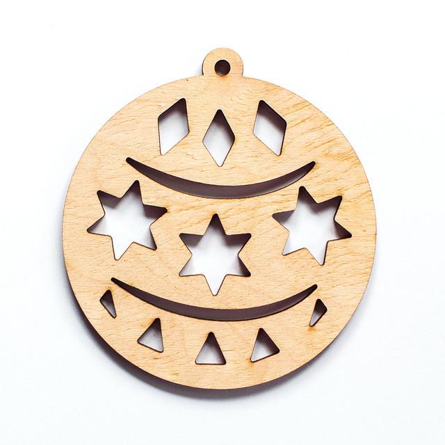 Ялинкова прикраса з дерева , кулька з зірками. 9 см. Обирай 6,12,24 іграшки - складай набір!