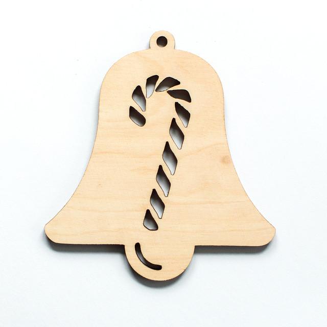 Ялинкова прикраса з дерева , дзвоник з льодяником. 9 см. Обирай 6,12,24 іграшки - складай набір!