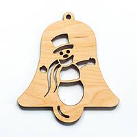 Ялинкова прикраса з дерева 29, дзвоник зі сніговиком. 9 см. Обирай 6,12,24 іграшки - складай набір!