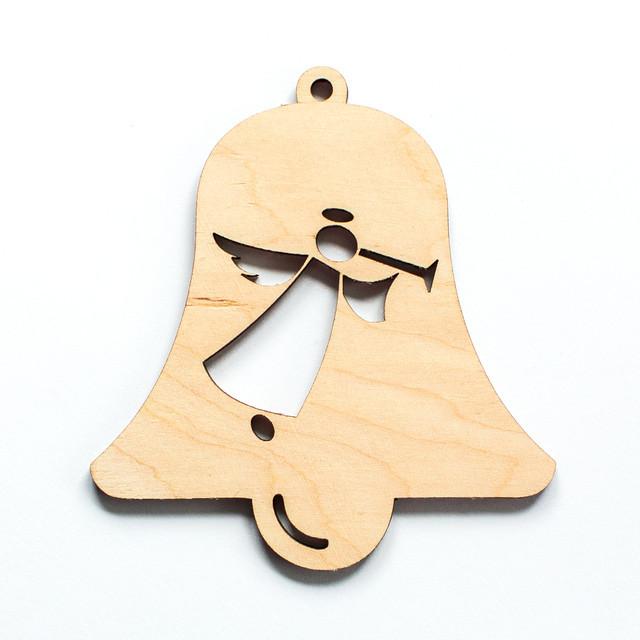 Ялинкова прикраса з дерева , дзвоник з янголом. 9 см. Обирай 6,12,24 іграшки - складай набір!