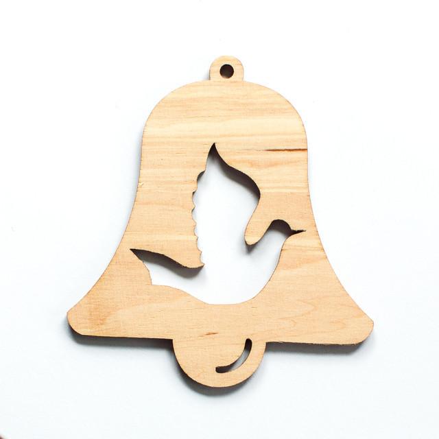 Ялинкова прикраса з дерева , дзвоник з голубом. 9 см. Обирай 6,12,24 іграшки - складай набір!