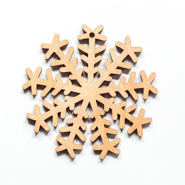 Ялинкова прикраса з дерева 37, сніжинка 1. 9 см. Обирай 6,12,24 іграшки - складай набір!