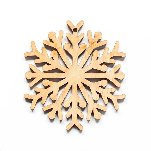 Ялинкова прикраса з дерева 39, сніжинка 5. 9 см. Обирай 6,12,24 іграшки - складай набір!