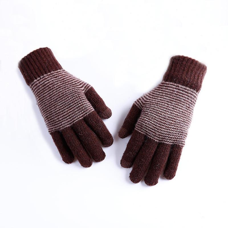 Теплые зимние мужские перчатки коричневые опт