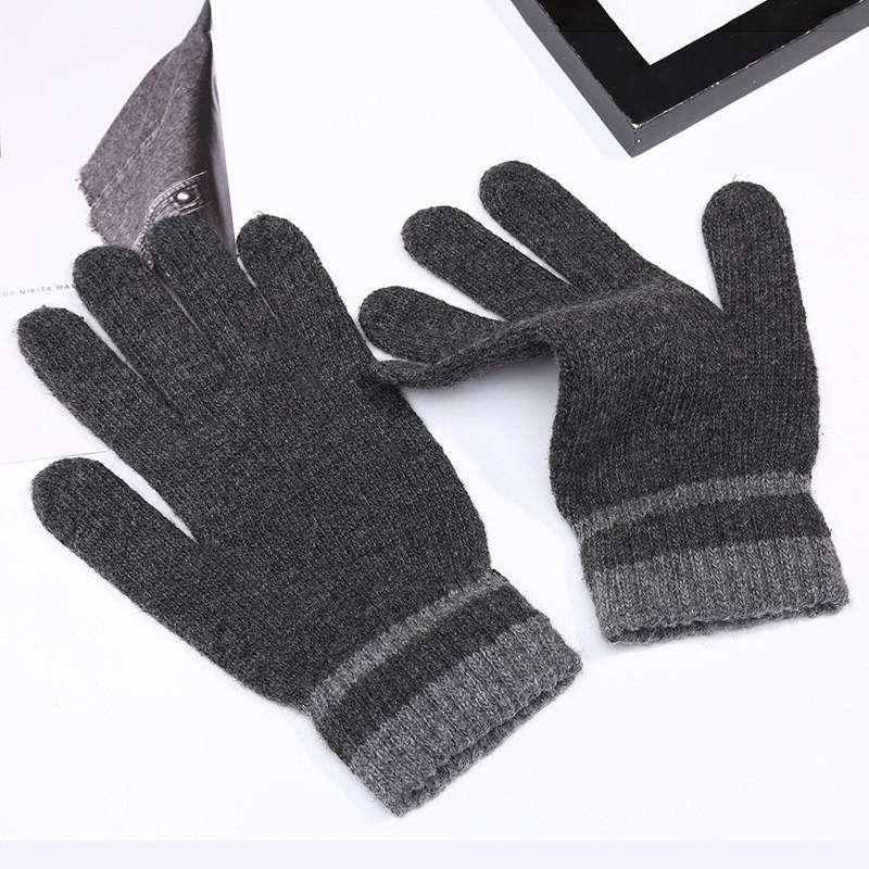 Перчатки весна/осень унисекс с полосками на запястье серые опт