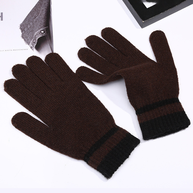 Перчатки весна/осень унисекс коричневые с полосками на запястье опт