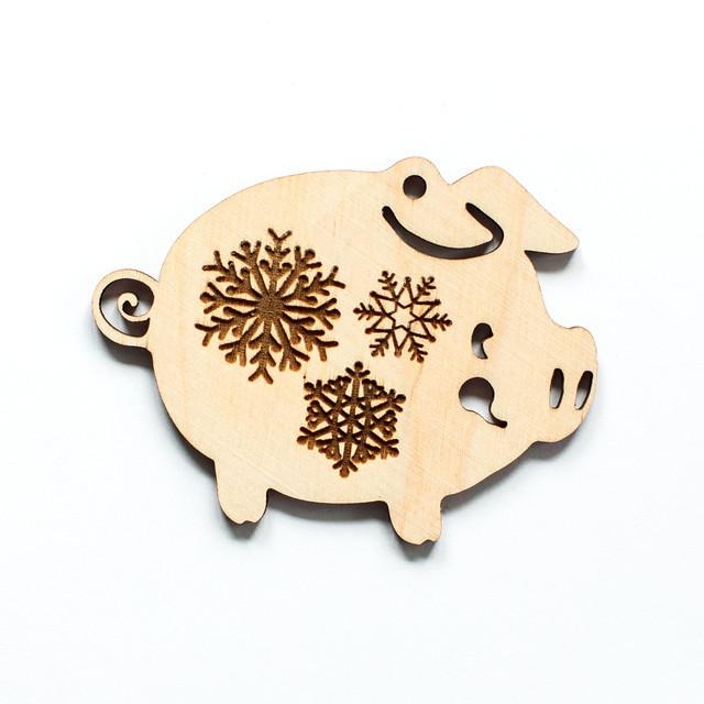 Ялинкова прикраса з дерева 40, свинка. 9 см. Обирай 6,12,24 іграшки - складай набір!