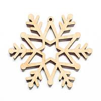 Ялинкова прикраса з дерева 49, сніжинка 2. 9 см. Обирай 6,12,24 іграшки - складай набір!