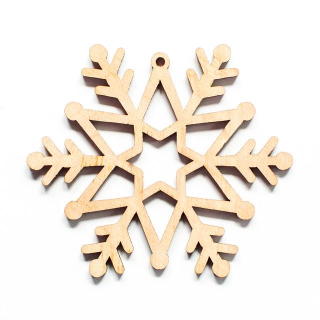 Ялинкова прикраса з дерева , сніжинка 2. 9 см. Обирай 6,12,24 іграшки - складай набір!