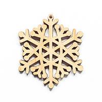 Ялинкова прикраса з дерева 52, сніжинка 6. 9 см. Обирай 6,12,24 іграшки - складай набір!