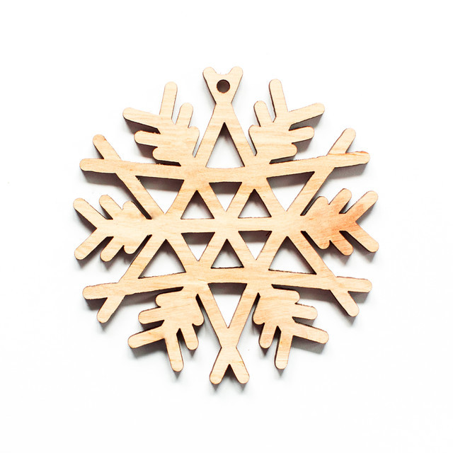 Ялинкова прикраса з дерева , сніжинка 3. 9 см. Обирай 6,12,24 іграшки - складай набір!