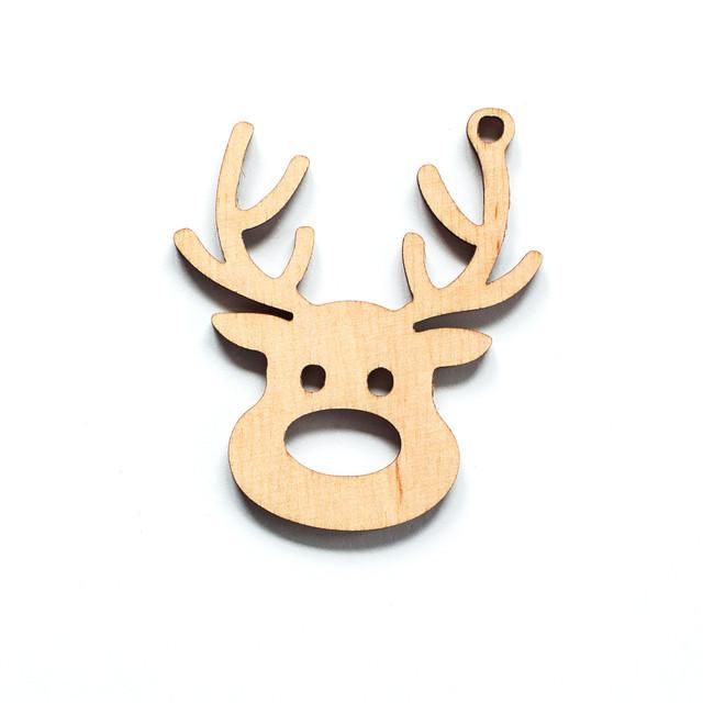 Ялинкова прикраса з дерева , мордочка оленя. 9 см. Обирай 6,12,24 іграшки - складай набір!