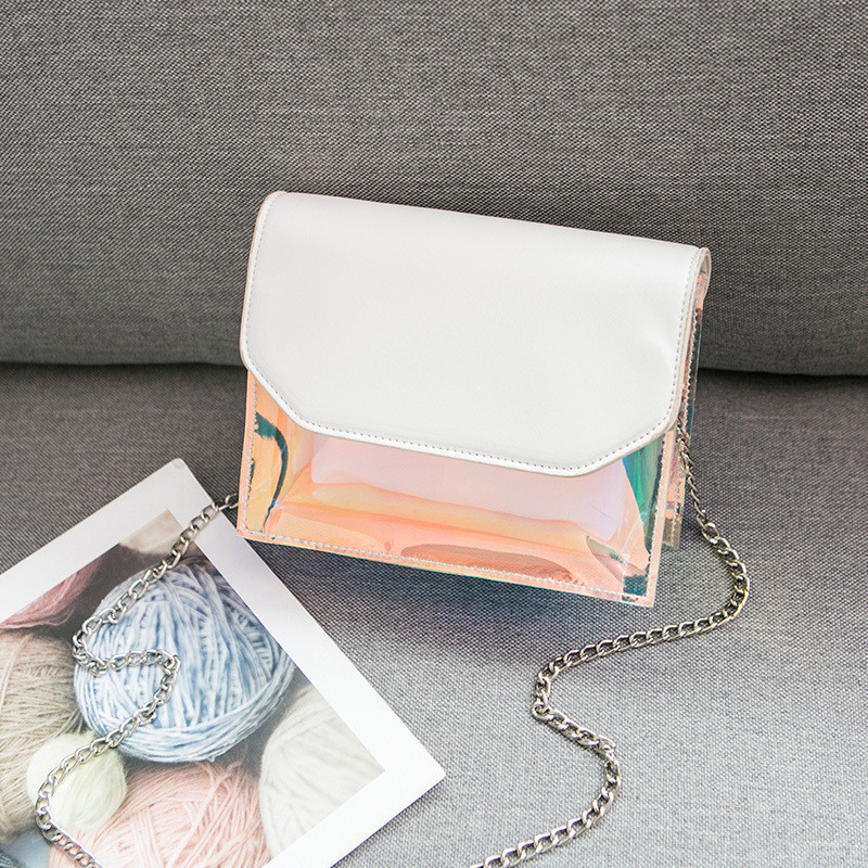 Маленькая прозрачная сумка-косметичка с белым кошельком опт