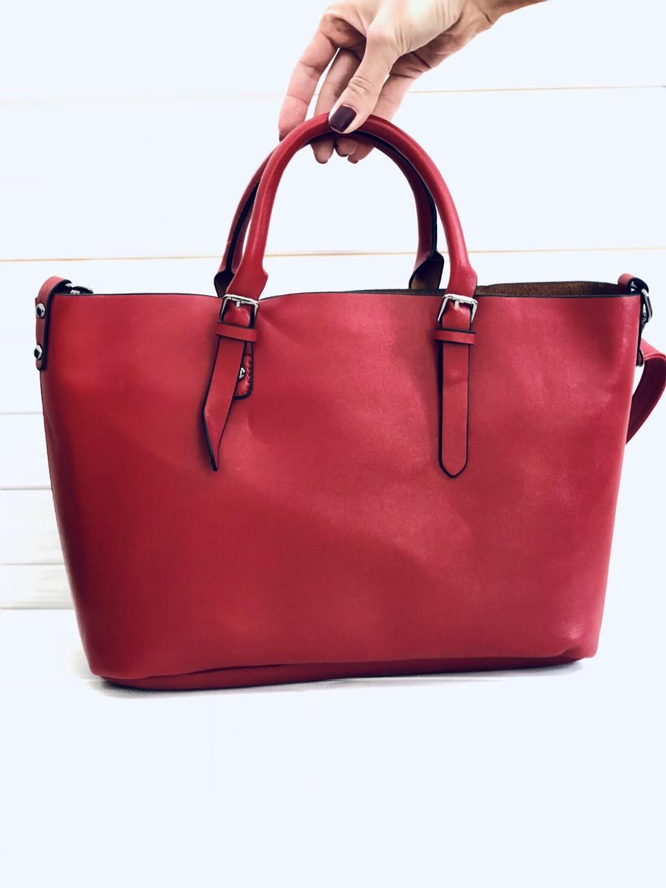 Женская большая сумка на молнии красная опт