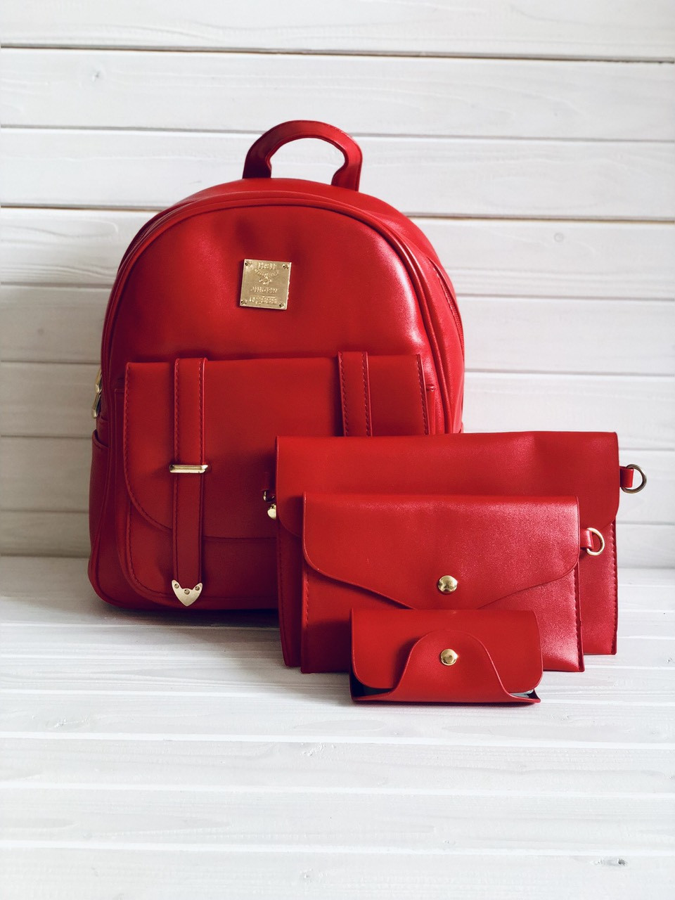 Рюкзак женский + клатч, кошелёк и визитница набор 4в1 красный экокожа