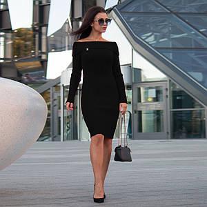 Вязаное женские платье по фигуре Ксюша черное