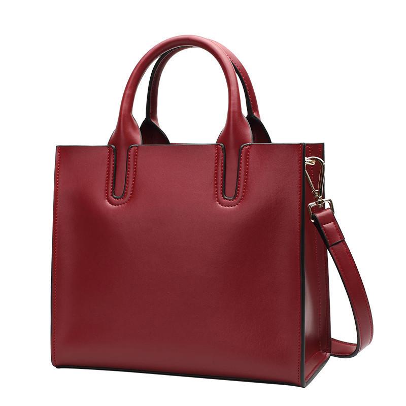 Женская большая классическая сумка красная кожаная