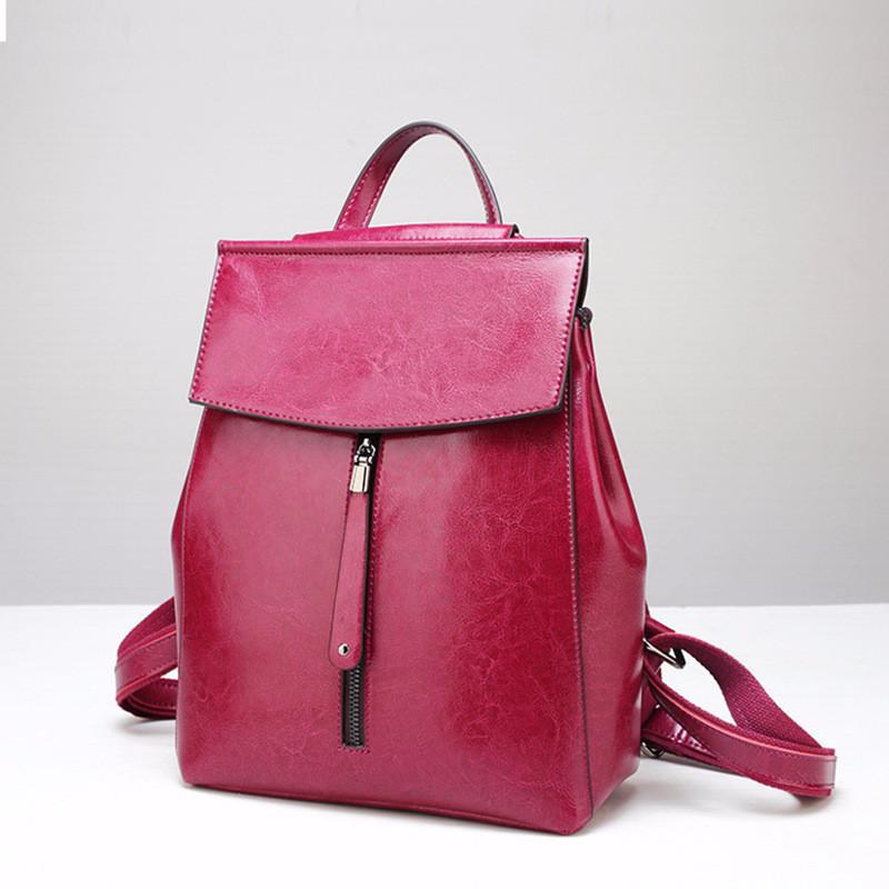 Рюкзак-сумка женский из натуральной кожи розовый