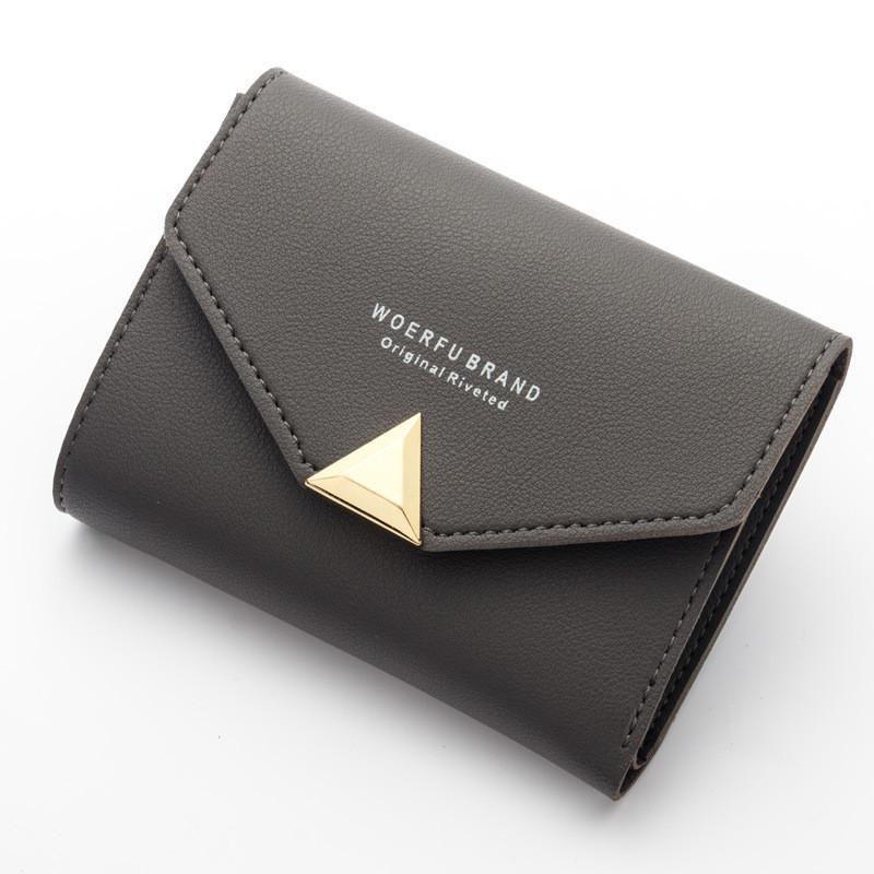 Маленький женский кошелёк на кнопке темно-серый