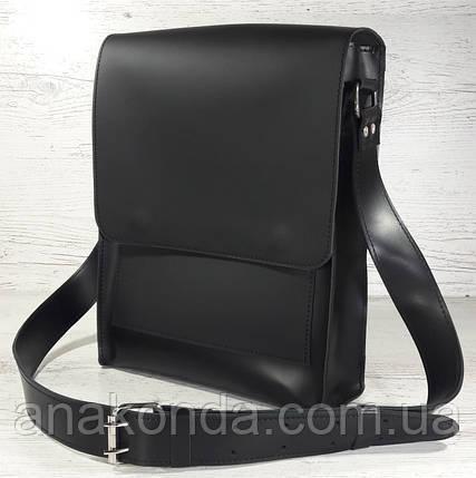 5d65d9970c69 510-XL Натуральная кожа, Сумка планшет мужская под А4 черная гладкая +ультраматовая,