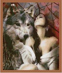 """Схема для вышивки бисером 38х32см """"Девушка с волком"""""""