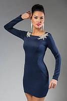 """Нарядное облегающее мини-платье дайвинг """"Nina"""" с длинным рукавом и открытой спиной (5 цветов)"""