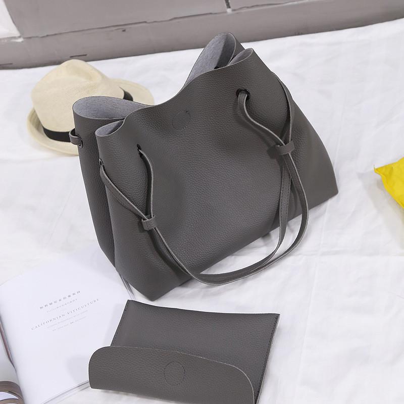 Женская большая сумка + клатч темно серый