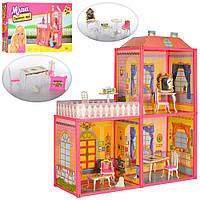 Кукольный домик дом, мебель для куклы Барби 2 этажа балкон 6984 009690
