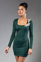 """Облегающее мини платье дайвинг """"Regina"""" с брошью и длинным рукавом (5 цветов)"""