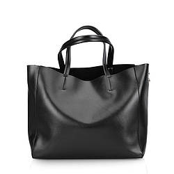 Женская сумка большая кожаная черная деловая