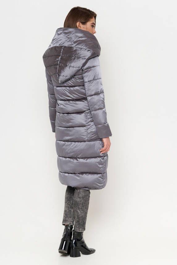 Красивый зимний пуховик серый, фото 2