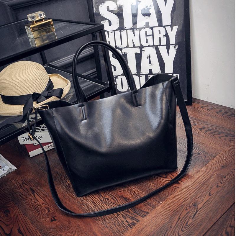 Женская сумка с ручками большая черная, фото 1