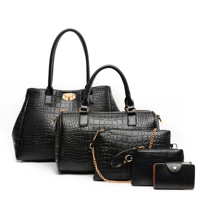 Женская сумка большая набор 5в1 черный + клатч, кошелек