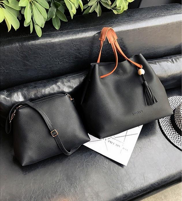 Женская большая и маленькая сумка набор черный