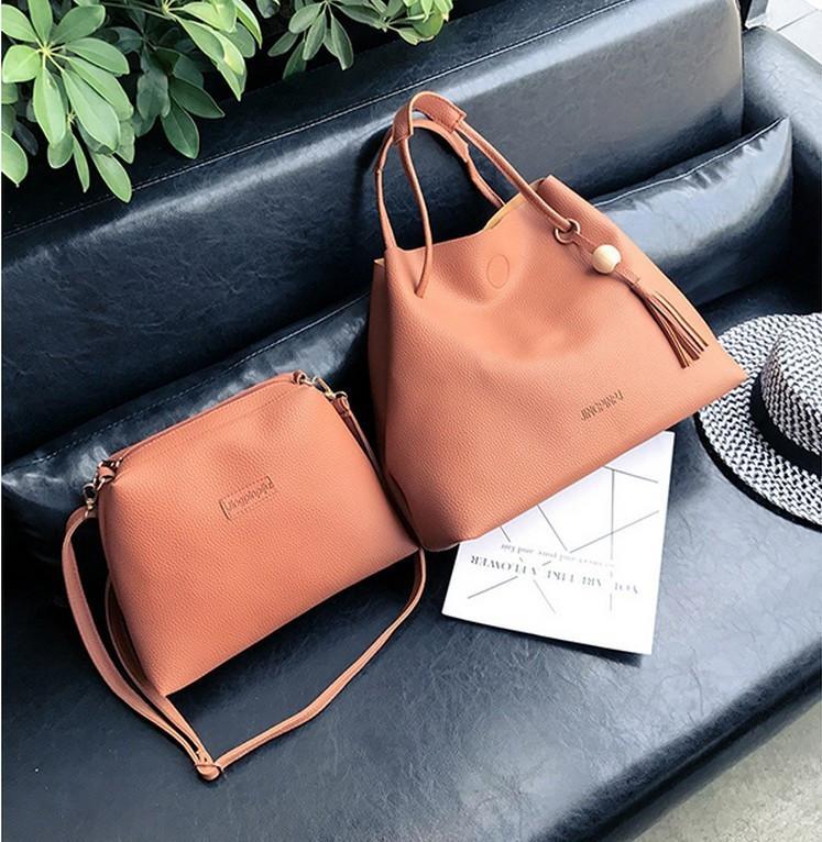 Женская большая и маленькая сумочка набор рыжий