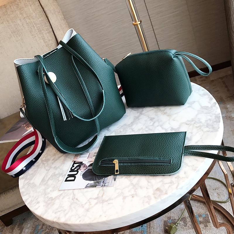Жіноча сумка з пензликом зелена набір 3в1