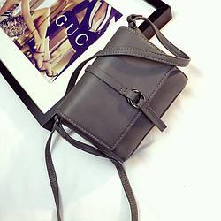 Женская маленькая сумочка серая на плече опт