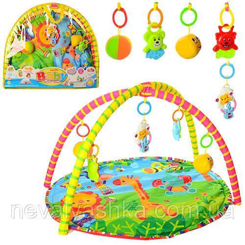 Развивающий коврик дуга для младенца круглый для малышей погремушки подвески, 518-17 009636