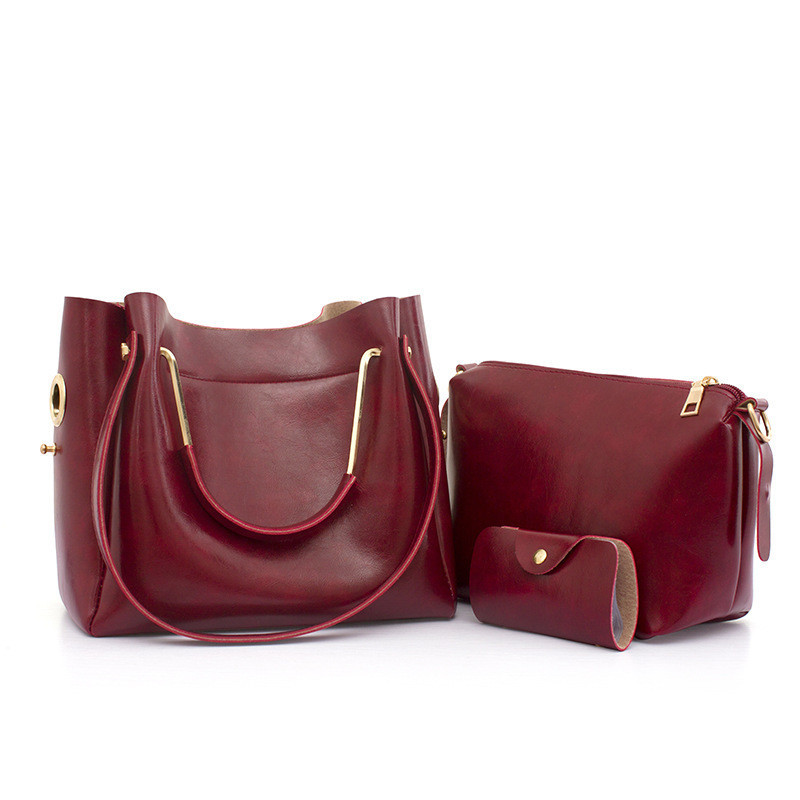 Женская сумка 3в1 среднего размера цвета бордо из экокожи