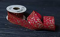 Декоративна стрічка 3,8 см мішковина з візерунком, фото 1