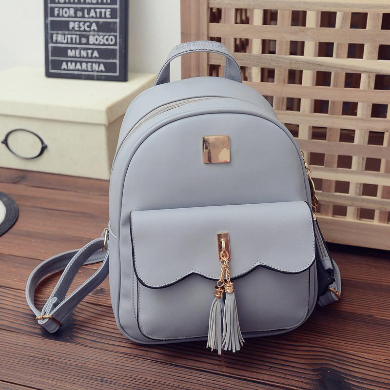 Жіночий рюкзак стильний сірий з кошельочком з екошкіри