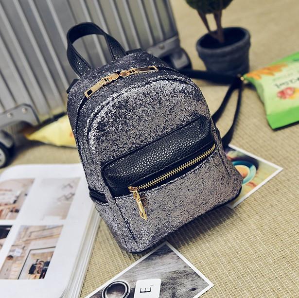 Женский рюкзак серебро стильный с блестками из экокожи