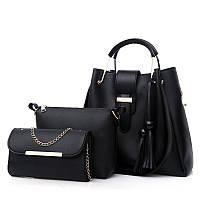 Набор женских сумок 3в1 черный из качественной экокожи с косточками