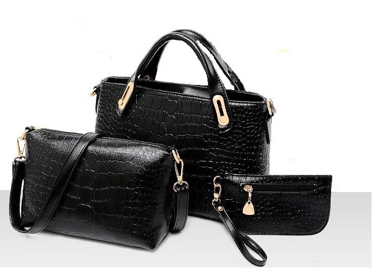 Жіноча сумка набір 3в1 з екошкіри чорний
