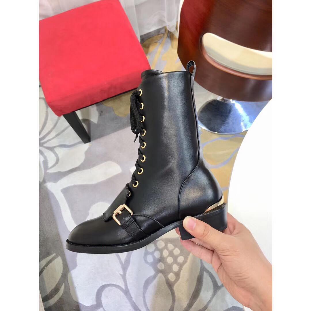 Черные кожаные ботинки Louis Vuitton на шнуровке и молнии с широкой пряжкой a44b2d40261